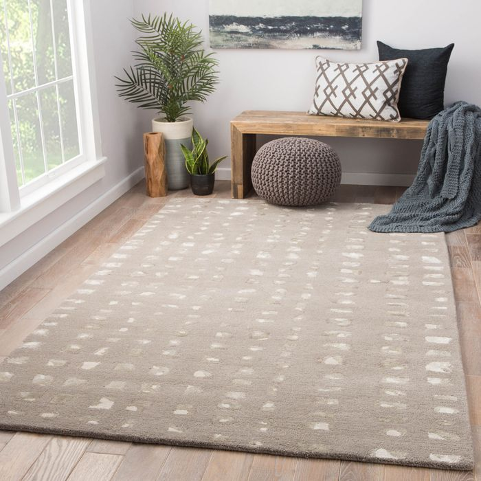transcend grey and black wool and viscose hand tufted Rug - RoomScene