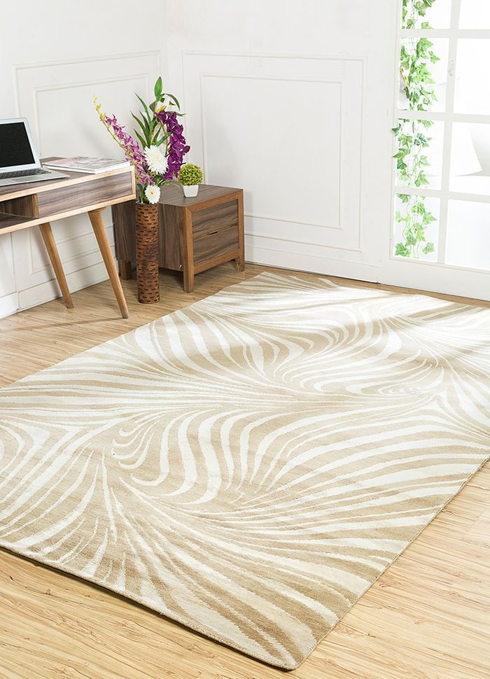 safari beige and brown wool and bamboo silk hand knotted Rug - RoomScene