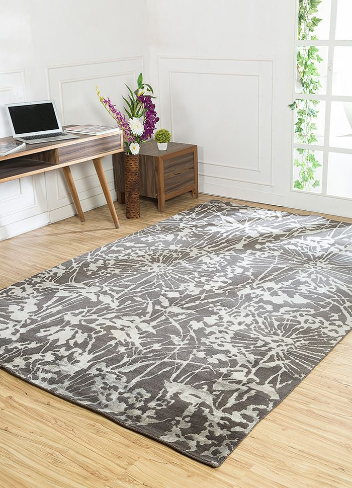 pansy grey and black wool and bamboo silk hand knotted Rug - RoomScene