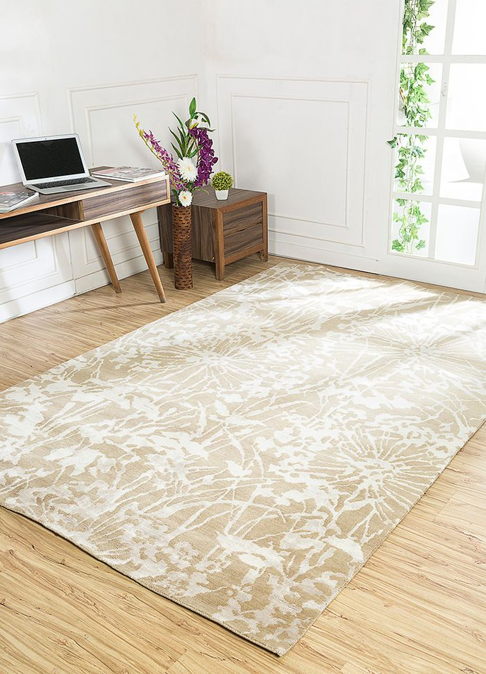 pansy beige and brown wool and bamboo silk hand knotted Rug - RoomScene
