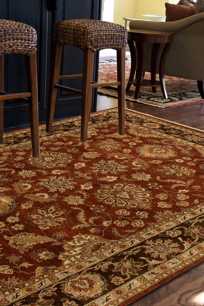 atlantis red and orange wool hand knotted Rug - RoomScene