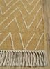 aqua gold wool flat weaves Rug - Corner