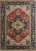 LCA-202 Cinnabar/Navy red and orange wool hand knotted Rug