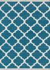 PDCT-59 Deep Turquoise/White blue cotton flat weaves Rug