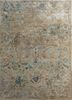 TAQ-622 Oyster/Medium Brown ivory wool and viscose hand tufted Rug
